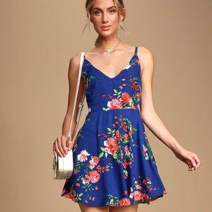 Lulus bridge to love blue floral skater dress s